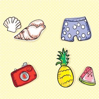 Bunte sommer icons (sammlungssatz)