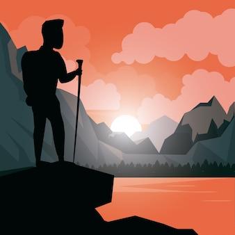 Bunte sonnenunterganglandschaft des bergsteigermannes an der spitze der gebirgsvektorillustration