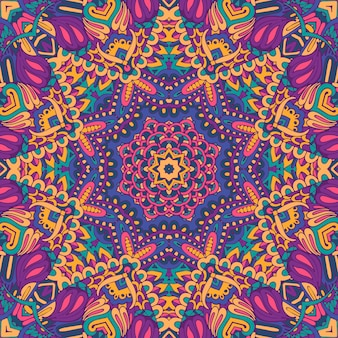 Bunte stammes-ethnische festliche abstrakte blumenvektormuster. geometrische mandala-rahmengrenze