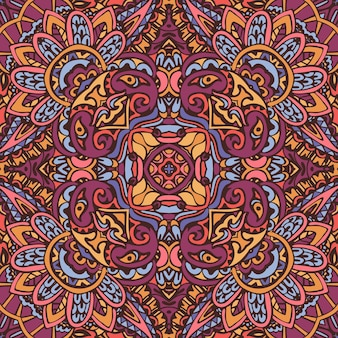 Bunte stammes-ethnische festliche abstrakte blumenvektormuster. nahtloses design des geometrischen mandalas