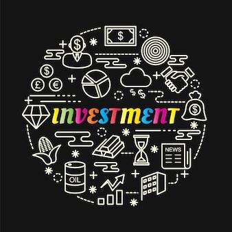 Bunte steigung der investition mit der linie ikonen eingestellt