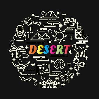 Bunte steigung der wüste mit der linie ikonen eingestellt