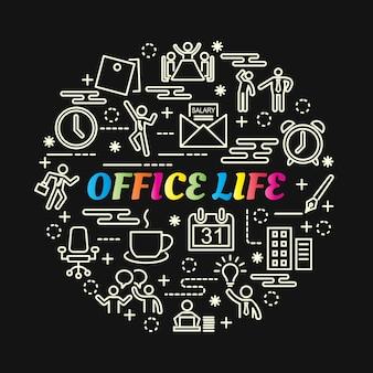 Bunte steigung des büroalltags mit der linie ikonen eingestellt