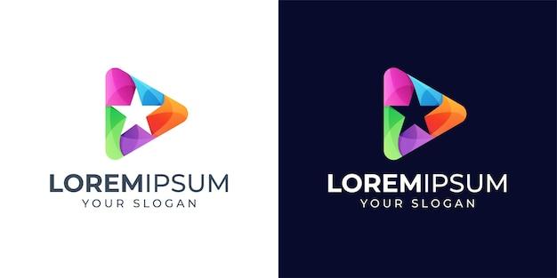 Bunte stern und spielen logo design inspiration