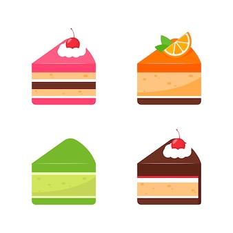 Bunte süßigkeiten des geburtstagskuchenvektors für geburtstagsfeier