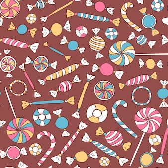 Bunte süßigkeiten nahtlose muster. süßigkeiten vektor hintergrund hand gezeichnet