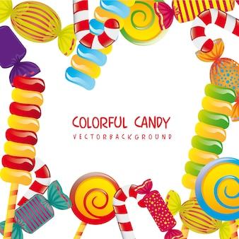 Bunte süßigkeiten über weißer hintergrundvektorillustration