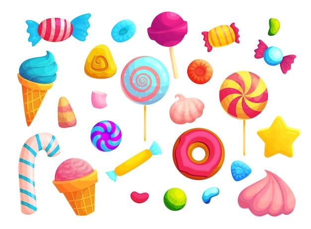 Bunte süßigkeiten und lutscher cartoon illustrationen gesetzt. packung mit eistüte, marshmallow und donuts.