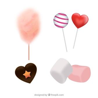 Bunte süßigkeitensammlung in der realistischen art