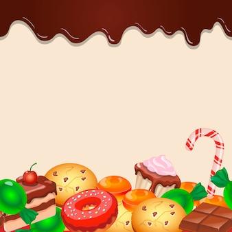 Bunte süßigkeitsbonbons und -schokolade des nahtlosen musterhintergrundes