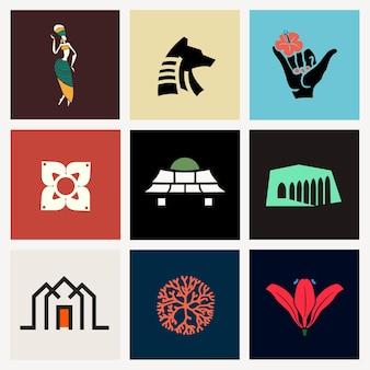 Bunte symbolillustration für branding-set Kostenlosen Vektoren