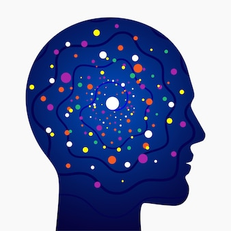 Bunte synapsen des neuronalen netzes im menschlichen kopf wissenschaftliches konzeptvektorillustration