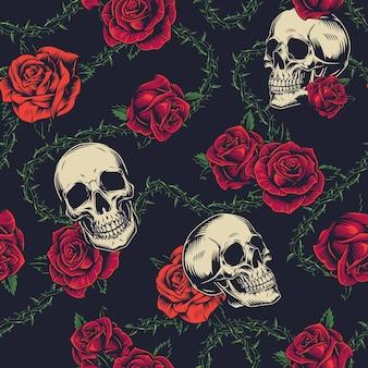 Bunte tattoos nahtlose muster mit blumen, totenköpfen und stacheldraht auf dunklem hintergrund
