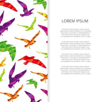 Bunte tiervögel silhouettiert fahnen- und plakatdesign
