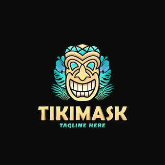 Bunte tiki-maske logo design vektor-illustration