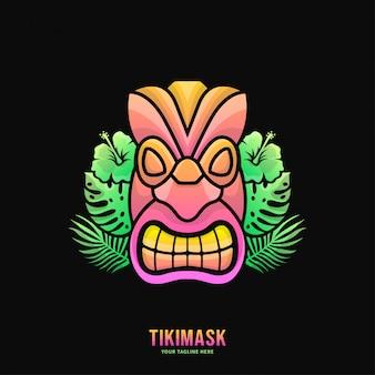 Bunte tiki-masken-logo-illustration