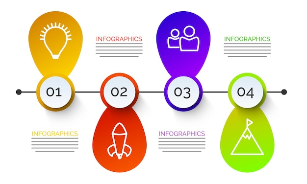 Bunte timeline-infografik mit symbolen