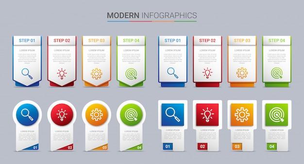 Bunte timeline-infografik-vorlage mit 4 schritten