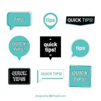Bunte tipps beschriften sammlung mit flachem design