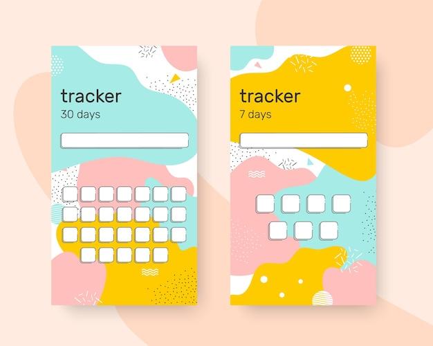 Bunte tracker-gewohnheitsvorlage für 30 und 7 tage, um ihre leistungen zu verfolgen vektor-illustration