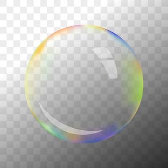 Bunte transparente seifenblase mit krisenherd