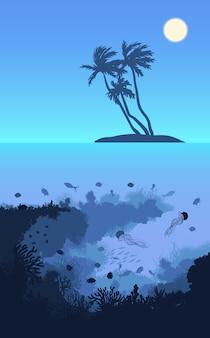 Bunte tropische insel-landschaftsschablone