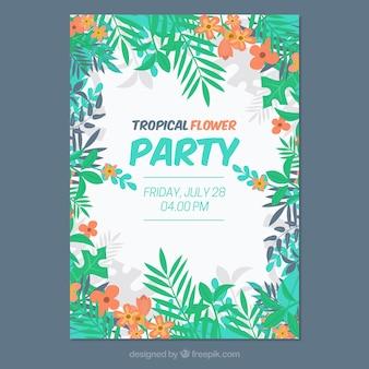 Bunte tropische party-broschüre mit blättern und blumen
