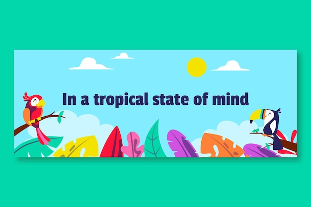 Bunte tropische saison-social-media-profilabdeckung Kostenlosen Vektoren