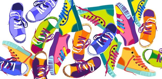 Bunte turnschuhe, die sport-schuhe-satz-sammlungs-fahne ausbilden