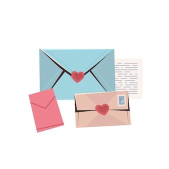Bunte umschläge mit herzen lieben buchstaben valentinstag feier konzept grußkarte banner einladung poster illustration