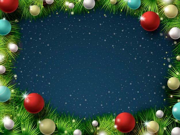 Bunte und funkelnde weihnachtsdekorationen über der verschneiten nacht