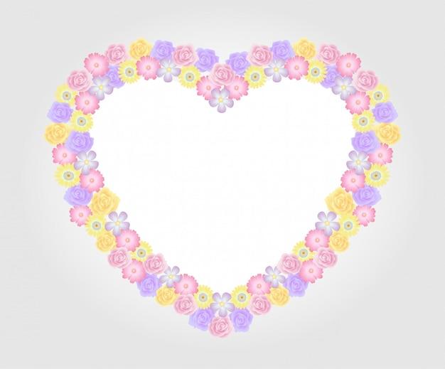 Bunte und schöne rosafarbene blumenschablonendekoration des blumenrahmens.