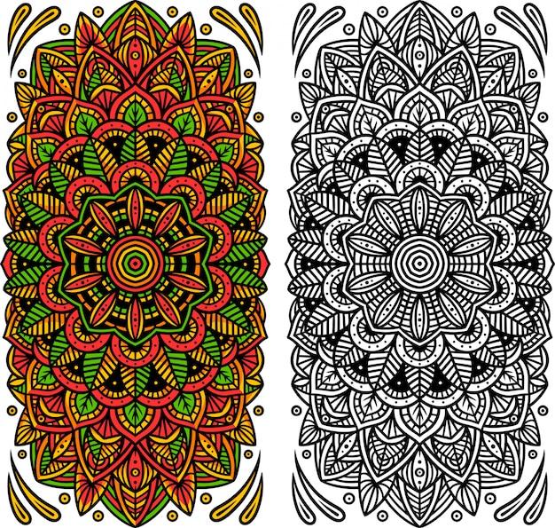 Bunte und schwarz-weiße mandalas