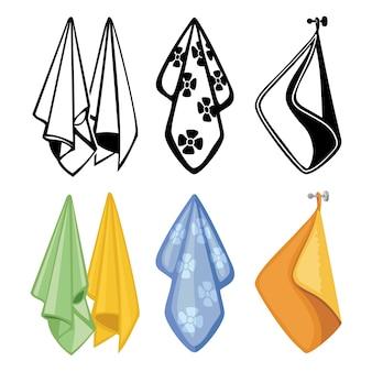 Bunte und schwarze handtuchkollektion. textilhandtuchikonen für küche, spa