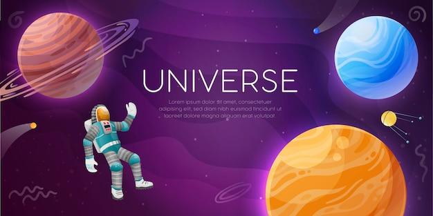 Bunte universumsillustration mit astronauten im künstlichen erdsatelliten der himmelskörper im offenen raum