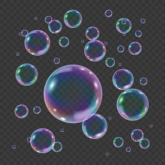 Bunte unterwasserblase des regenbogens auf transparentem hintergrund