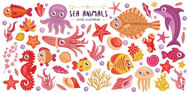 Bunte unterwassertiere eingestellt