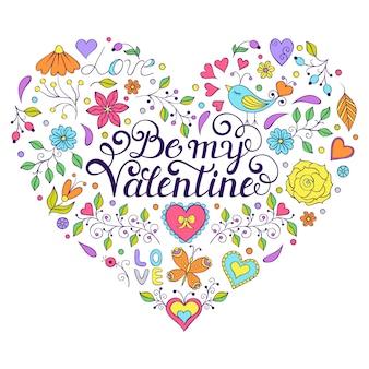 Bunte valentinsgrußkarte mit herdform