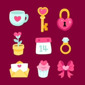Bunte valentinstag-elementsammlung