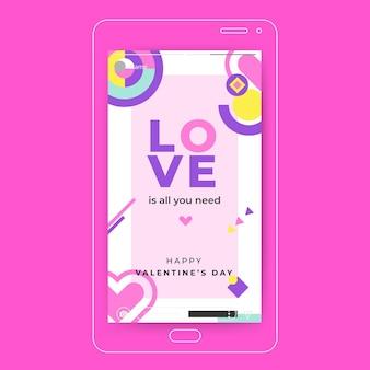 Bunte valentinstagschablone der instagram-geschichte
