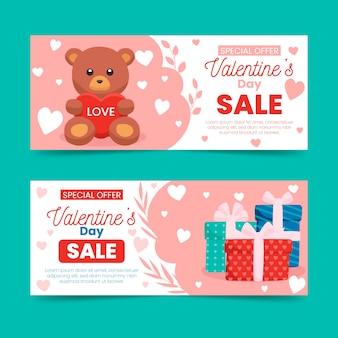 Bunte valentinstagverkaufsfahnen
