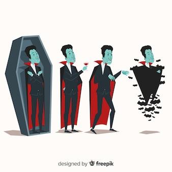 Bunte vampirschartsammlung mit flachem design