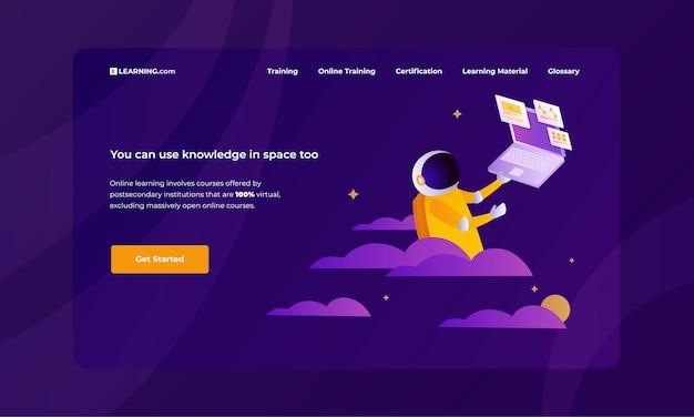 Bunte vektorillustration für pädagogische website auf modischem purpurrotem hintergrund mit dem studieren des raumfahrers.