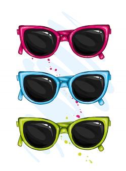Bunte vektorsatzillustration der brille. brillen sommersymbol.