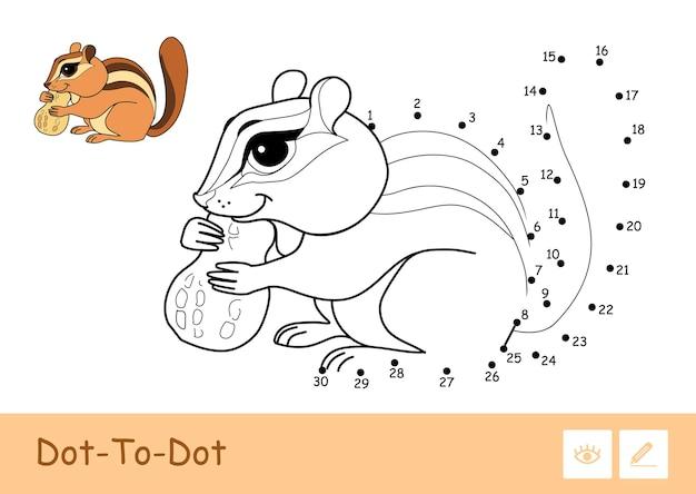 Bunte vektorvorlage und farblose kontur dottodot niedlich ein streifenhörnchen, das eine nuss nagt, isoliert auf weißem hintergrund wilde tiere im vorschulalter, malbuchillustrationen und entwicklungsaktivität
