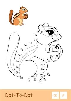 Bunte vektorvorlage und farblose kontur dottodot niedlich ein streifenhörnchen mit einer nuss isoliert auf weißem hintergrund wilde tiere vorschulkinder malbuch illustrationen und entwicklungsaktivität
