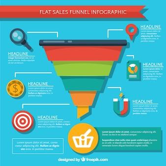 Bunte verkäufe infografik in flachen stil