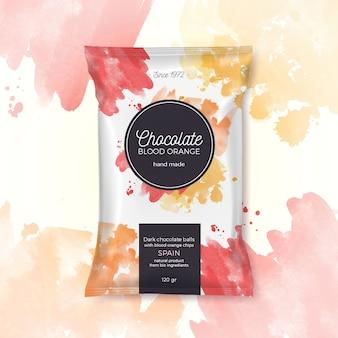 Bunte verpackung der schokoladenblutorange