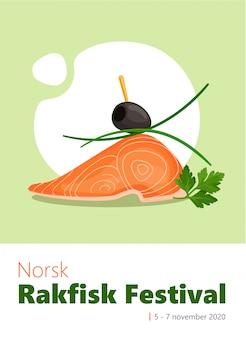 Bunte vertikale vektorfahnenschablone des rakfisk-festivals mit leckerem lachs, petersilie, lauch und olivenkanape.