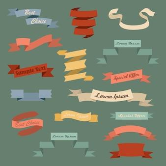 Bunte vintage-bänder mit platz für eine inschrift. bunte bandfahnen. aufkleber abzeichen dekorative bordüren vektor-illustration